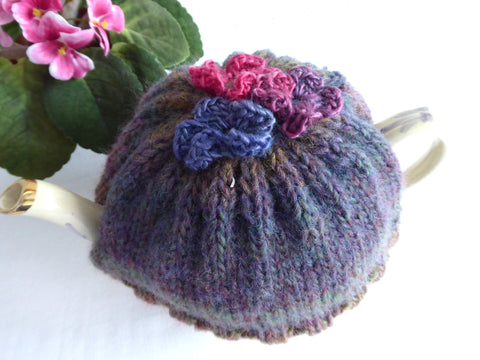 Hand Knit Tea Cozy Applied Flowers Cosy Knitted Brown Green Variegated Medium Stretchy