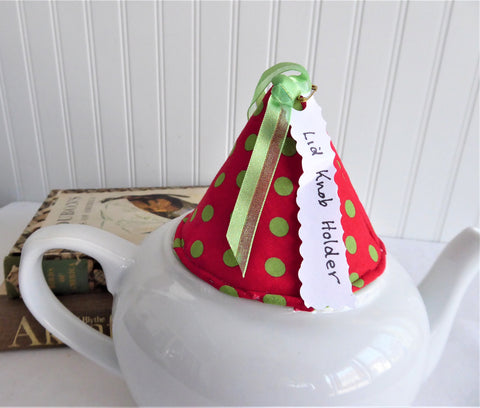Knob Holder Red Green Polka Dots Teapot Lid Holder Padded Green White Polka Dots Inside