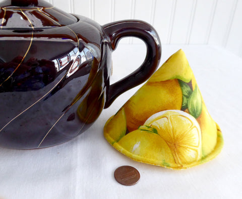 Padded Lid Knob Holder Lemons Teapot Lid Holder Yellow Ditzy Floral Inside