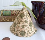 Tan Olive Green Lid Knob Holder Teapot Lid Holder Padded Green Chintz Inside