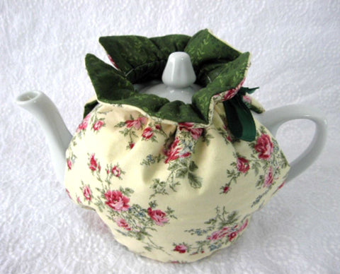 Tea Cozy Yellow Floral Green Padded Reversible USA Handmade Cosy