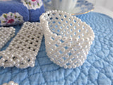 Elegant Pearl Napkin Ring Set Of 7 White Faux Pearl Mesh Dainty