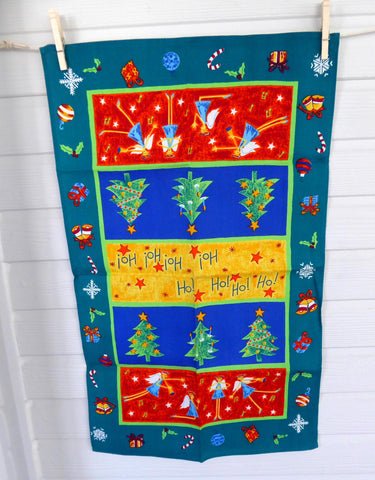 Tea Towel English 1980s Christmas Holiday Design Angels Trees Quirky Dish Towel