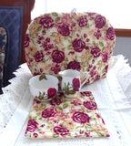 Tea Cozy Burgundy Roses Padded US Hand Made New With Trivet