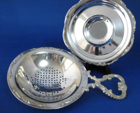Tea Strainer With Base Silver Plate 3 Ball Feet 2 Piece Silver Plate Elegant Heart Handle