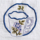 Tea Towel Hand Made Embroidered Teacup Silver Cloth Dish Towel USA  Artisan