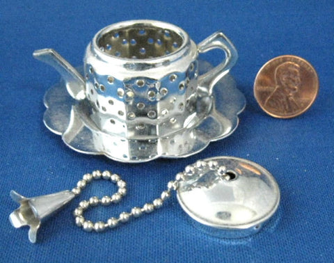 Teapot Shape Tea Infuser Chrome With Tray In Box New Tea Leaf Diffuser