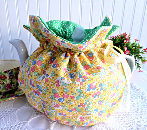 Tea Cozy Yellow Floral Green Polka Dot USA Handmade Large Cosy Warmer