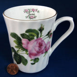 Mug June Pink Roses Butchart Gardens Victoria Regency England Bone China 1980s - Antiques And Teacups - 1