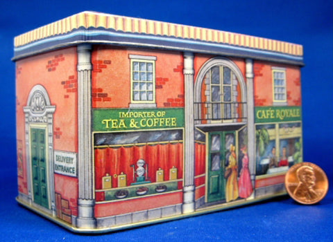 Tea Tin Cafe Royale Tea Importer London Shop Tin Red Brick 1970s - Antiques And Teacups - 1