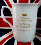Queen Elizabeth II Diamond Jubilee Mug English Bone China 2012 - Antiques And Teacups - 2