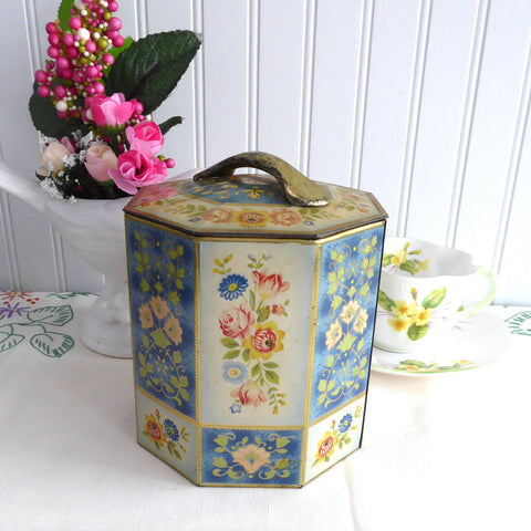 Panelled Floral Tea Caddy Tea Tin Octagonal 1950s Blue Yellow Green Canister