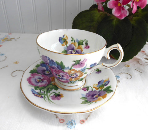 Pansies Queen Anne English Cup And Saucer 1950s Pink Blue Lavender Spring Melody