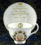 Queen Elizabeth II Diamond Jubilee Cup And Saucer English Bone China 2012 - Antiques And Teacups - 3