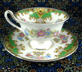 Shelley Green Sheraton Cup and Saucer England Gainsborough Shape - Antiques And Teacups - 2