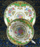 Shelley Green Sheraton Cup and Saucer England Gainsborough Shape - Antiques And Teacups - 3
