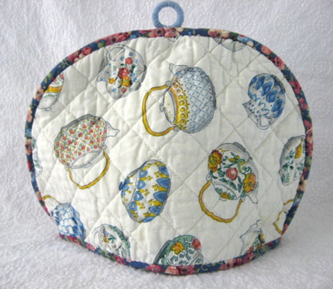 Tea Cozy Padded Teapots Cream Sugar Chintz Binding Hand Made 1960s - Antiques And Teacups - 1