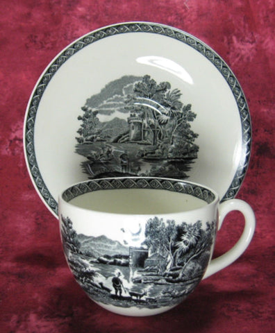 Wedgwood Cup And Saucer Lugano Black Transferware Italian Scene 1960s - Antiques And Teacups - 1