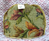 Tea Cozy Golden Brown Tapestry Padded US Foliage Fringe Tassel Tea Cosy - Antiques And Teacups - 2
