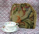 Tea Cozy Golden Brown Tapestry Padded US Foliage Fringe Tassel Tea Cosy - Antiques And Teacups - 4