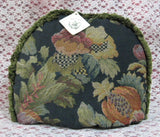 Tapestry Tea Cozy Navy Blue Padded US Jacobean Floral Green Fringe Cosy - Antiques And Teacups - 1