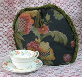 Tapestry Tea Cozy Navy Blue Padded US Jacobean Floral Green Fringe Cosy - Antiques And Teacups - 2
