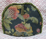 Tapestry Tea Cozy Navy Blue Padded US Jacobean Floral Green Fringe Cosy - Antiques And Teacups - 4