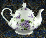 Teapot Wild Violets New Springfield English Bone China 4-6 Cups Large Tea Pot - Antiques And Teacups - 3
