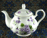 Teapot Wild Violets New Springfield English Bone China 4-6 Cups Large Tea Pot - Antiques And Teacups - 5