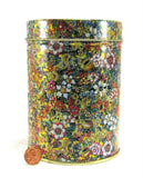 Floral Chintz Tea Caddy Tea Tin Cylinder Made In Italy 1980s Metallic Gold - Antiques And Teacups - 1