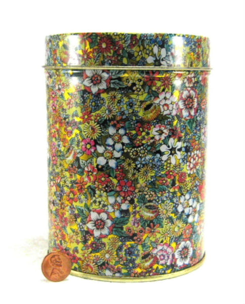 Floral Chintz Tea Caddy Tea Tin Cylinder Made In Italy