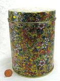 Floral Chintz Tea Caddy Tea Tin Cylinder Made In Italy 1980s Metallic Gold - Antiques And Teacups - 2
