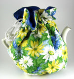 Daisies Tea Cozy Padded White Cord And Blue lining USA Handmade