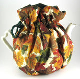 Tea Cozy Reversible Padded Autumn Leaves Green Cord And Green lining USA Handmade