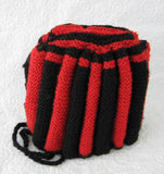 Tea Cozy Red And Black English Hand Knitted Stretchy 1950s Tea Cosy - Antiques And Teacups - 4