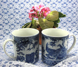 Mug Pair Design Blue And White Oriental Design Peacocks Dragons Porcelain 1980s - Antiques And Teacups - 2
