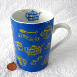 Mug Bounjour French Tea Time Tea Items Blue Yellow Ceramic Germany 10 Ounces - Antiques And Teacups - 1