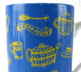 Mug Bounjour French Tea Time Tea Items Blue Yellow Ceramic Germany 10 Ounces - Antiques And Teacups - 2