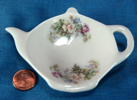 Teapot Shape Tea Bag Caddy Royal Patrician Aurora Rose Bouquet Bone China - Antiques And Teacups - 1