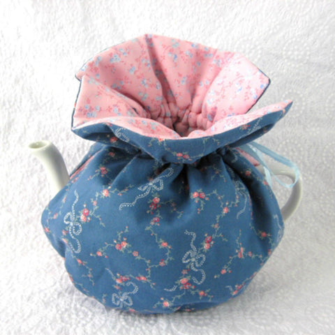 Tea Cozy Padded Blue And Pink Floral Reversible USA Handmade Cosy - Antiques And Teacups - 1