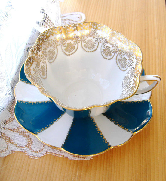 Cup And Saucer Shelley Teal And White Stratford Gold