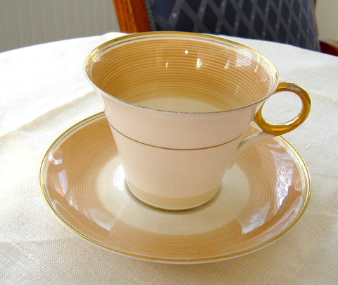 Shelley Regent Art Deco Cup And Saucer 1930s Swirls Brown White Gold - Antiques And Teacups - 1