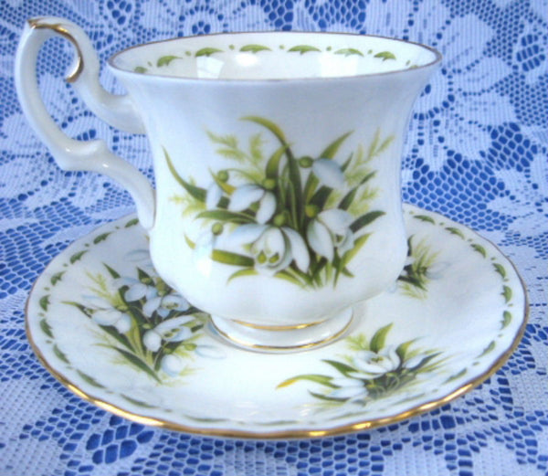 January Snowdrops Cup And Saucer Royal Albert Demi Flower