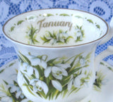 January Snowdrops Cup And Saucer Royal Albert Demi Flower Of The Month - Antiques And Teacups - 3