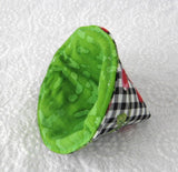 Padded Lid Knob Holder Cherries Teapot Lid Holder Green Marble Inside - Antiques And Teacups - 2