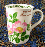 Mug Wild Rose Botanical English Bone China Crown Trent Pink Roses - Antiques And Teacups - 2