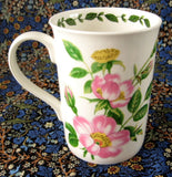 Mug Wild Rose Botanical English Bone China Crown Trent Pink Roses - Antiques And Teacups - 4