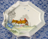 Tea Tile Shelley England Cottage 2 Trivet Tea Tile Angled Art Deco Thatched Cottage - Antiques And Teacups - 2
