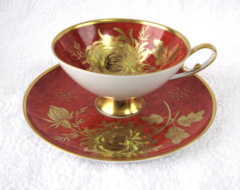 Red Alka Bavaria Cup And Saucer Gold Chrysanthemums Patricia 1950s Martini - Antiques And Teacups - 1