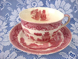 Cup And Saucer Willow Red Transferware England Ridgway Old Willow 1890s - Antiques And Teacups - 1
